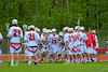 Baldwinsville Bees Parker Ferrigan (23) being introduced before playing the Liverpool Warriors in Section III Boys Lacrosse action at the Pelcher-Arcaro Stadium in Baldwinsville, New York.  Bees won 10-6.