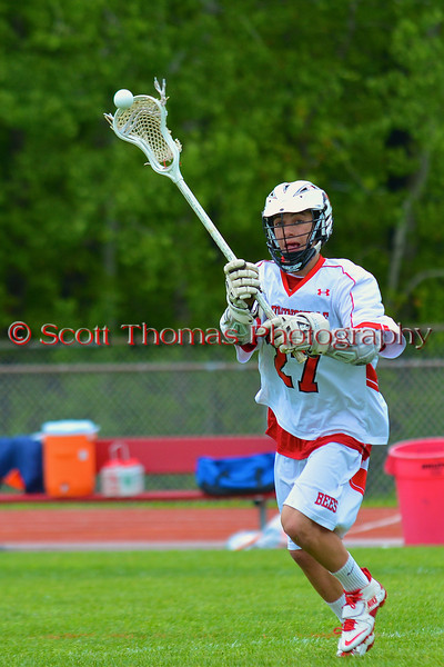 Baldwinsville Bees Tyler Gornick (27) in pre-game warmups before playing the Liverpool Warriors in Section III Boys Lacrosse action at the Pelcher-Arcaro Stadium in Baldwinsville, New York.  Bees won 10-6.