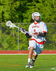 Baldwinsville Bees Zachary Bulak (1) with the ball against the Oswego Buccaneers in Section III Boys Lacrosse action at the Pelcher-Arcaro Stadium in Baldwinsville, New York.  Baldwinsville won 9-3.