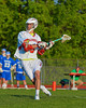 Baldwinsville Bees Ronnie Bertrand (6) lining up a shot at the Oswego Buccaneers net in Section III Boys Lacrosse action at the Pelcher-Arcaro Stadium in Baldwinsville, New York.  Baldwinsville won 9-3.