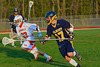West Genesee Wildcats Nick Mellen (17) heads up field against the Baldwinsville Bees in Section III Boys Lacrosse action at the Pelcher-Arcaro Stadium in Baldwinsville, New York. West Genesee won 9-6.