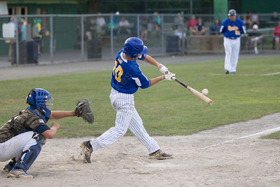 Meriden's Post 45 Zackary Golebiewski gets on board driving in Jeffrey Massicotte Wednesday at Palmer Field in Middletown Jul. 5, 2017 | Justin Weekes / For the Record-Journal