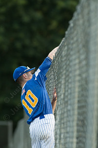 Meriden's Post 45 Zackary Golebiewski tries to grab a foul ball at the fence Tuesday at Pat Wall Field in Wallingford. The game was postponed in the third inning due to weather tied 2 -2. Jun. 27, 2017 | Justin Weekes / For the Record-Journal