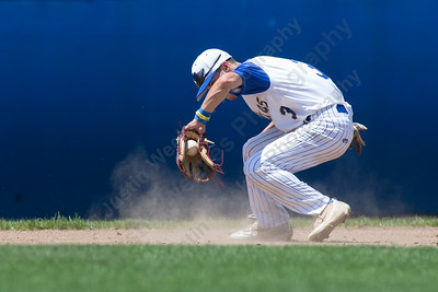Meriden Post's 45 Sebastian Grignano fields a hit from East Haven's Jake Ferrara Sunday during the second round of the American Legion tournament at Legion Field in Meriden Jul. 16, 2017 | Justin Weekes / For the Record-Journal