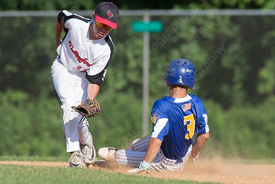 Meriden's Post 45 Sebastian Grignano steals second beating the tag from Wallingford's Post 187 Anthony Cretella Tuesday at Pat Wall Field in Wallingford. The game was postponed in the third inning due to weather tied 2 -2. Jun. 27, 2017 | Justin Weekes / For the Record-Journal
