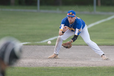 Meriden's Post 45 Jeffrey Massicotte fields a ground ball Wednesday at Palmer Field in Middletown Jul. 5, 2017 | Justin Weekes / For the Record-Journal