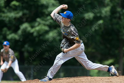 Maloney's Carson Coon delivers a pitch Saturday at Legion Field in Meriden Jul. 8, 2017 | Justin Weekes / For the Record-Journal