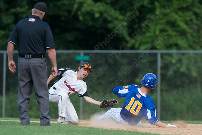 Wallingford's Post 187 Anthony Cretella gets a stealing Meriden's Post 45 Zackary Golebiewski at second base Tuesday at Pat Wall Field in Wallingford. The game was postponed in the third inning due to weather tied 2 -2. Jun. 27, 2017 | Justin Weekes / For the Record-Journal