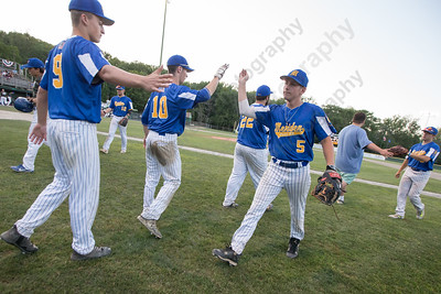 Meriden Post 45 celebrates taking down Middletown in the first game of a double header Wednesday at Palmer Field in Middletown Jul. 5, 2017 | Justin Weekes / For the Record-Journal