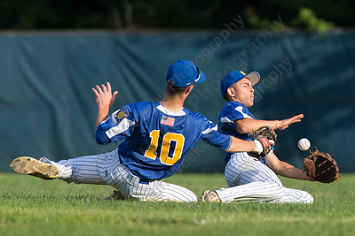 Meriden's Post 45 Zackary Golebiewski (10) and Jake  Baker come together in right field Tuesday at Pat Wall Field in Wallingford. The game was postponed in the third inning due to weather tied 2 -2. Jun. 27, 2017 | Justin Weekes / For the Record-Journal