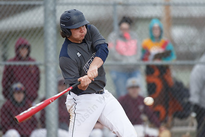 Lyman Hall's Russ Edeen drives in a run Thursday at Westside Field in Wallingford April 5, 2018 | Justin Weekes / Special to the Record-Journal