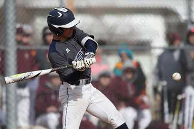 Lyman Hall's Ethan Day gets on board with a base hit Thursday at Westside Field in Wallingford April 5, 2018 | Justin Weekes / Special to the Record-Journal