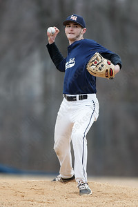 Lyman Hall's Joe Chasse delivers a pitch Wednesday during a pre-season scrimmage at Pat Wall Field in Wallingford March 28, 2018 | Justin Weekes / Special to the Record-Journal