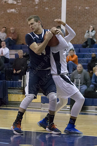 Lyman Hall's Jake Ranney and Platt's Vincent Martinez Monday at Platt High School in Meriden December 18, 2017 | Justin Weekes / For the Record-Journal