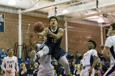 Lyman Hall's Shakespeare Rodriguez puts in a layup Monday at Platt High School in Meriden December 18, 2017 | Justin Weekes / For the Record-Journal