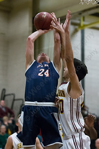 Lyman Hall's Jake Ranney puts in a layup Saturday at Sheehan High School in Wallingford January 6, 2018 | Justin Weekes / Special to the Record-Journal