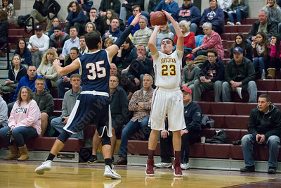 Sheehan's Jack McDonnell puts up a three point shot Saturday at Sheehan High School in Wallingford January 6, 2018 | Justin Weekes / Special to the Record-Journal