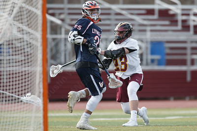 Sheehan's Garrett Harrison gets a shot off Monday at Sheehan High School in Wallingford April 9, 2018 | Justin Weekes / Special to the Record-Journal