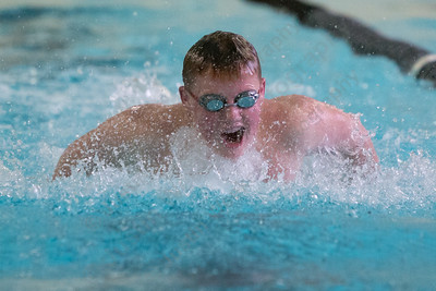 Lyman Hall's Cam Baker in the 200 individual medley Tuesday at Sheehan High School Natatorium in Wallingford  January 23, 2018 | Justin Weekes / Special to the Record-Journal