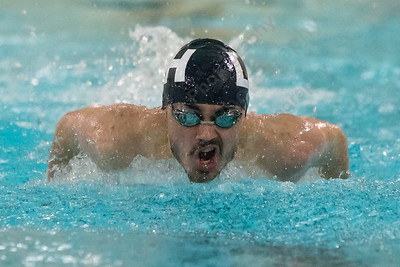 Lyman Hall's Nick Motmans in the 100 butterfly Thursday at the Sheehan High School Natatorium in Wallingford  February 1, 2018 | Justin Weekes / Special to the Record-Journal