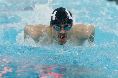 Lyman Hall's Nick Motmans in the 200 medley relay Friday at the Sheehan High School Natatorium in Wallingford February 23, 2018 | Justin Weekes / Special to the Record-Journal