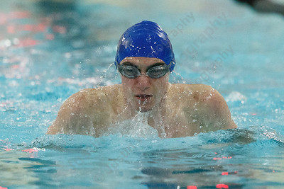 Lyman Hall's Connor Tsolis in the 200 medley relay Friday at the Sheehan High School Natatorium in Wallingford February 23, 2018 | Justin Weekes / Special to the Record-Journal