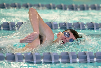 Lyman Hall's Joshua Ramirez in the 200 freestyle Tuesday at Sheehan High School Pool in Wallingford January 2, 2018 | Justin Weekes / Special to the Record-Journal