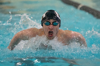 Lyman Hall's Colin Kelly in the 200 medley relay Thursday at the Sheehan High School Natatorium in Wallingford  February 1, 2018 | Justin Weekes / Special to the Record-Journal