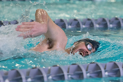 Lyman Hall's Nick Motmans in the 200 freestyle Tuesday at Sheehan High School Natatorium in Wallingford  January 23, 2018 | Justin Weekes / Special to the Record-Journal