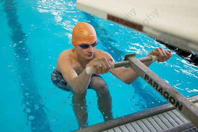 Lyman Hall's Joshua Ramirez gets set for the 200 medley relay Tuesday at Sheehan High School Natatorium in Wallingford  January 23, 2018 | Justin Weekes / Special to the Record-Journal
