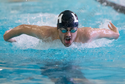 Lyman Hall's Nick Motmans in the 200 medley relay Tuesday at Sheehan High School Natatorium in Wallingford  January 23, 2018 | Justin Weekes / Special to the Record-Journal