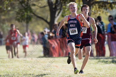 Lyman Hall's Alexandre Fishbein-Ouimette and Sheehan's Stephen Fengle Thursday during the SCC Cross Country finals at East Shore Park in New Haven October 19, 2017 | Justin Weekes / For the Record-Journal