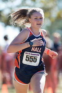 Lyman Hall's Emily Ottens Thursday during the SCC Cross Country finals at East Shore Park in New Haven October 19, 2017 | Justin Weekes / For the Record-Journal