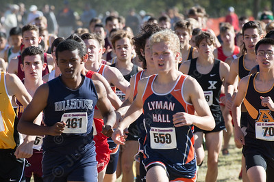 Lyman Hall's Alexandre Fishbein-Ouimette Thursday during the SCC Cross Country finals at East Shore Park in New Haven October 19, 2017 | Justin Weekes / For the Record-Journal