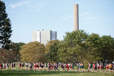 The start of the boys varsity race Friday during the SCC Cross Country Championships at East Shore Park in New Haven October 19, 2018 | Justin Weekes / Special to the Record-Journal