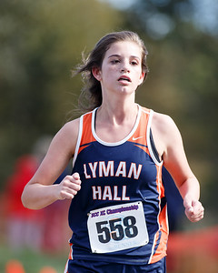 Lyman Hall's Olivia Weir finished 40th Friday during the SCC Cross Country Championships at East Shore Park in New Haven October 19, 2018 | Justin Weekes / Special to the Record-Journal