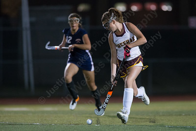 Sheehan's Kaylee Drobish moves the ball up field Wednesday at Riccitelli Field on the campus of Sheehan High School in Wallingford October 4, 2017 | Justin Weekes / For the Record-Journal