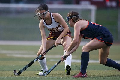 Sheehan's Jordyn Nickerson is challenged by Lyman Hall's Avery McGovern  Monday at Riccitelli Field on the campus of Sheehan High School in Wallingford September 17, 2018   Justin Weekes / Special to the Record-Journal