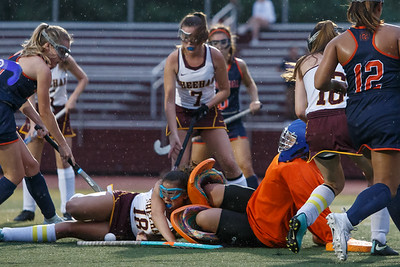 Lyman Hall's Madison Torre comes out of goal to stop Sheehan's Kelly Midolo Monday at Riccitelli Field on the campus of Sheehan High School in Wallingford September 17, 2018 | Justin Weekes / Special to the Record-Journal