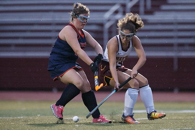 Sheehan's Allison Villano is challenged by Lyman Hall's Grace Solomon Monday at Riccitelli Field on the campus of Sheehan High School in Wallingford September 17, 2018   Justin Weekes / Special to the Record-Journal