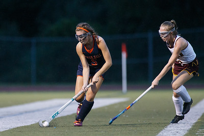 Lyman Hall's Alivia Celentano works up the sideline Monday at Riccitelli Field on the campus of Sheehan High School in Wallingford September 17, 2018   Justin Weekes / Special to the Record-Journal