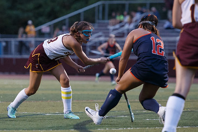 Lyman Hall's In Hwa Ferretti blocks Sheehan's Kelly Midolo shot Monday at Riccitelli Field on the campus of Sheehan High School in Wallingford September 17, 2018   Justin Weekes / Special to the Record-Journal