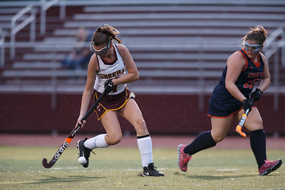 Sheehan's Kaylee Drobish settles a pass Monday at Riccitelli Field on the campus of Sheehan High School in Wallingford September 17, 2018   Justin Weekes / Special to the Record-Journal