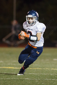 Lyman Hall's Pat Patrell (2) turns up field for a short gain Thursday at Branford High School in Branford  October,30 2014   Justin Weekes / For the Record-Journal