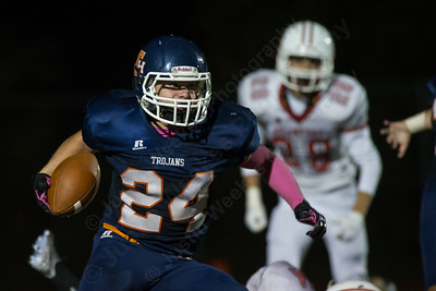 Lyman Hall's Nick Santello (24) gets in some open space Thursday at Riccitelli Field in Wallingford Oct. 22, 2015 | Justin Weekes / For the Record-Journal
