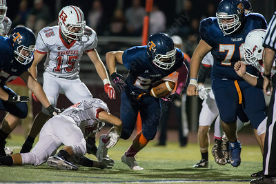 Lyman Hall's Nick Santello (24) runs for a touchdown Thursday at Riccitelli Field in Wallingford Oct. 22, 2015   Justin Weekes / For the Record-Journal