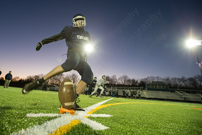 Lyman Hall's John Witik practices kicking off Monday at Fitzgerald Field in Wallingford Nov. 23, 2015 | Justin Weekes / For the Record-Journal
