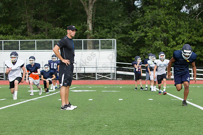 Lyman Hall's new head coach Bill Weyrauch during practice Tuesday at Lyman Hall High School in Wallingford Aug. 22, 2017 | Justin Weekes / For the Record-Journal