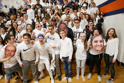 """Lyman Hall's """"WOBMOB"""" student section Monday at Lyman Hall High School in Wallingford February 12, 2018 