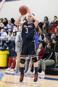 Lyman Hall's Kailey Lipka puts up a three point attempt Tuesday during the CIAC Class L first round at Wethersfield High School in Wethersfield February 27, 2018 | Justin Weekes / Special to the Record-Journal